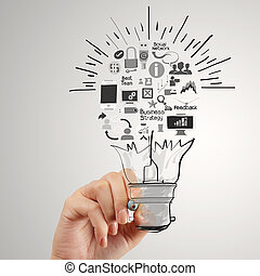 mano, disegno, creativo, strategia affari, con, lampadina,...
