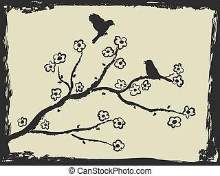 mano, disegno, di, uccelli, e, fiore plum