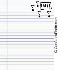mano, disegno, musica, su, carta