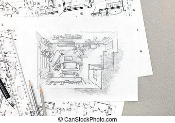 Interno disegno mano matita grafico drawing schizzo for Disegno casa interno