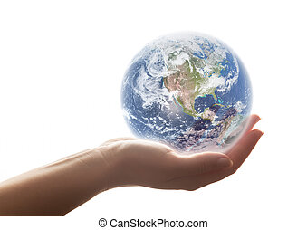 mano., donna, ambiente, concetti, terra, shines, risparmiare, ecc., mondo