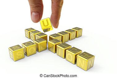 mano, e, 3d, oro, parola, soluzione, concetto affari