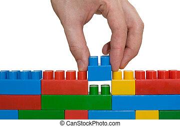 mano, edificio up, lego, pared