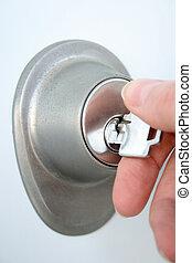 mano, el abrir la puerta, con, un, llave