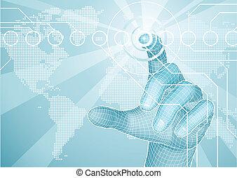 mano, el seleccionar, mapa del mundo, concepto, ba