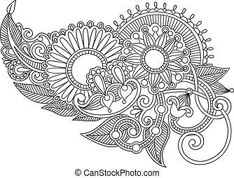 mano, empate, arte de línea, florido, flor, diseño
