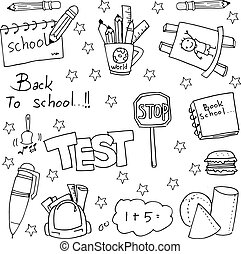 mano, empate, escuela, educación, doodles