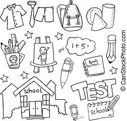 mano, empate, escuela, educación, doodles, conjunto