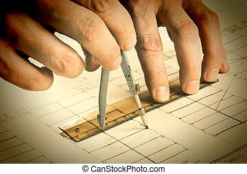 mano, empates, un, lápiz, en, dibujo