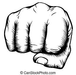 mano, en, puño, perforación, de, frente