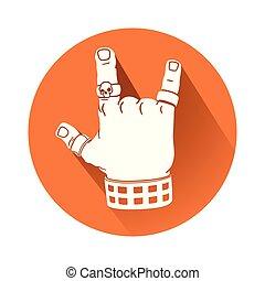 mano, en, roca, gesto, símbolo