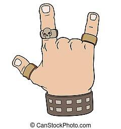 mano, en, roca, gesto