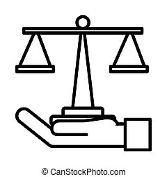 mano, escala, estilo, elevación, balance, línea, icono