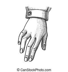 mano, estado, calma, tinta, niña, señal, gesto