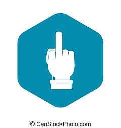 mano, estilo, simple, señal, icono, dedo medio