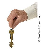 mano femenina, con, llaves