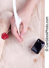 mano femenina, escritura, antigüedad, púa