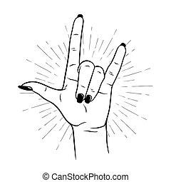 mano, femmina, gesto, roccia