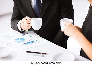 mano, firma, papel, contrato, mujer