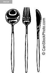 mano, fondo., o, bianco, illustrazione, cucchiaio, cibo, menu, article., verdura, coltelleria, vista., cima, libro, ricetta, frutta, forchetta, drawing., white., inchiostro, nero, giornale, isolato, knife., rivista