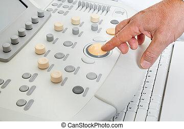 mano, funzionante, macchina ultrasound