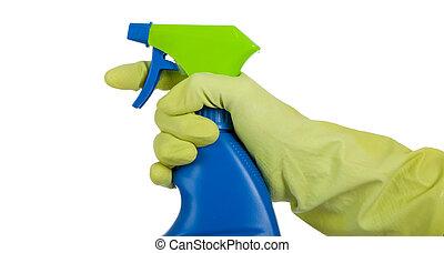 mano gloved, con, atomizador
