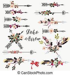 mano grande, dibujado, conjunto, flores, flechas, boho