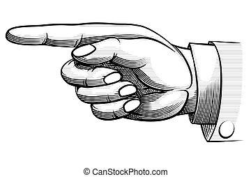 mano, hand-drawn, indicare, vendemmia, sinistra