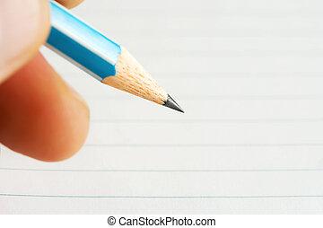 mano, hembra, escritura