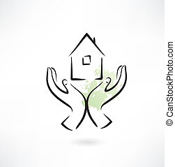 mano, hogar, icono