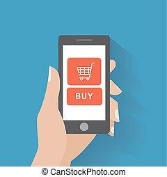 mano, holing, far male, telefono, con, comprare, bottone, su, il, schermo
