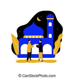 mano, hombres, mubarak, mezquita, eid, sacudida, frente, dos