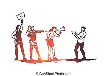 mano, hostigamiento, vector., abuso, mujeres, concept., ...