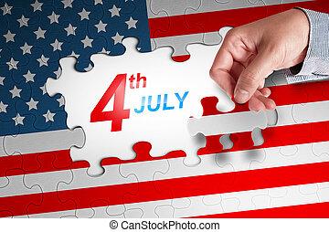 mano humana, acabado, un, bandera estadounidense, rompecabezas, con, cuarto, 4 julio, mensaje