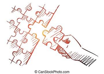 mano humana, brazo, completar, rompecabezas, dibujado