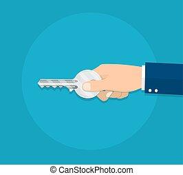 mano humana, con, llave
