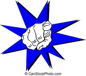 mano humana, dedo que señala