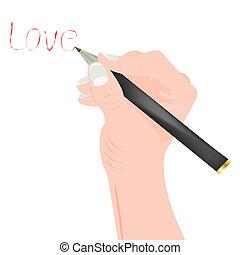mano humana, escribe, palabra, blanco