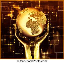 mano humana, planeta, encendido, tenencia, nuestro, tierra