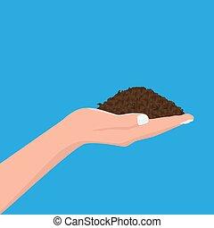 mano humana, tenencia, soil., plano, y, sólido, color,...