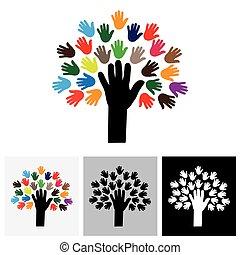 mano humana, y, árbol, icono, con, colorido, palmas, -, concepto, vector, icono