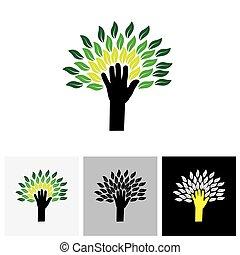 mano humana, y, árbol, icono, con, hojas verdes, -, eco, concepto, vector