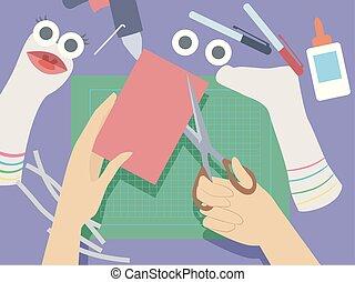 mano, ilustración, calcetín, títeres