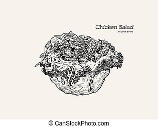 mano, insalata pollo, schizzo, disegnare, tortilla, vector., ciotola
