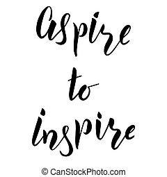 mano, inspirar, cepillo lettering, aspirar, texto