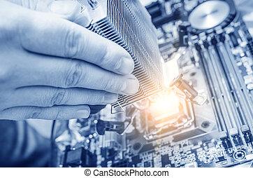 mano, instalación, el, viruta de computadora