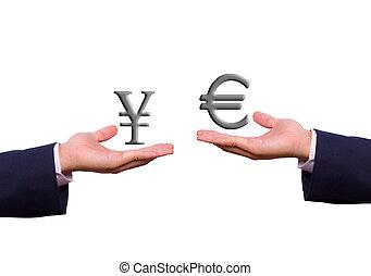mano, intercambio, euro, y, señal de yenes