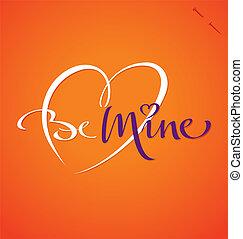mano, iscrizione, 'be, (vector), mine'