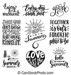 mano, iscrizione, con, motivazionale, phrases., vettore, set, di, calligrafia, inspirational, quotes.