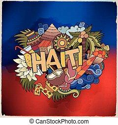 mano, iscrizione, elementi, doodles, haiti